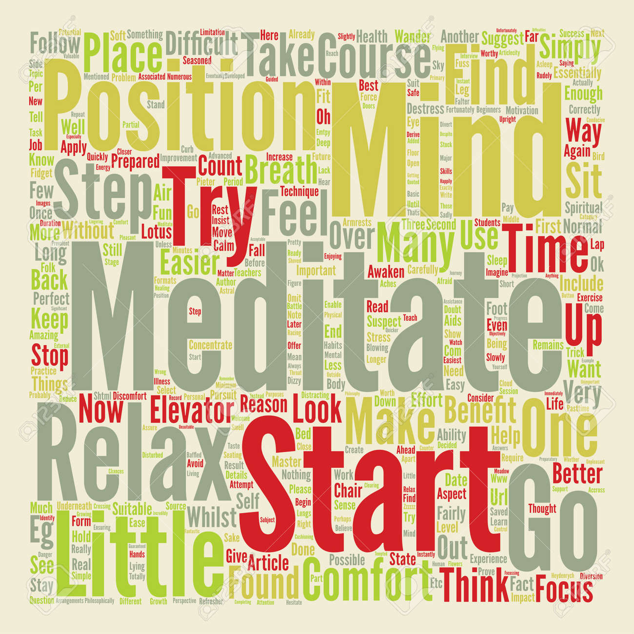 Learn How To Meditate text background word cloud concept Stock Vector - 73496839
