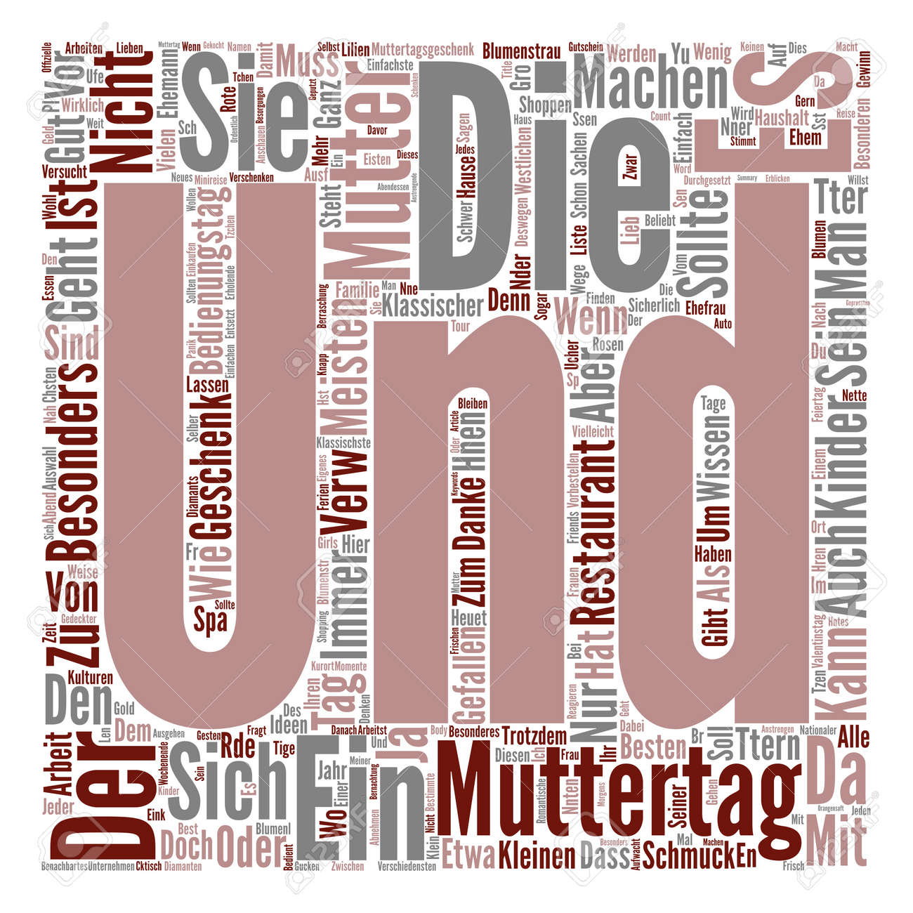 Muttertag Geschenke Ideen Text Background Word Cloud Concept Royalty