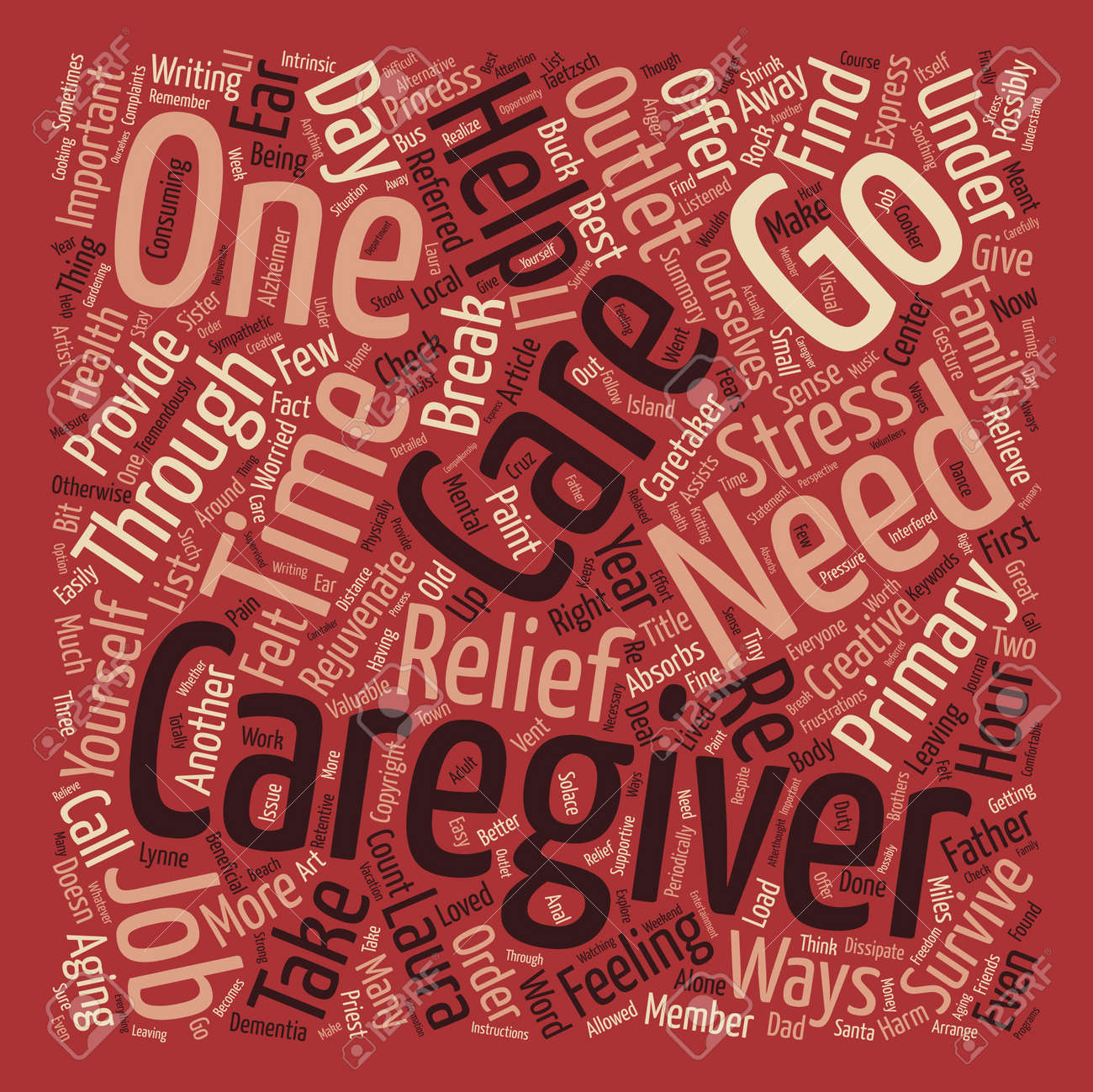 How to Survive as a Primary Caregiver Word Cloud Concept Text Background - 73728671