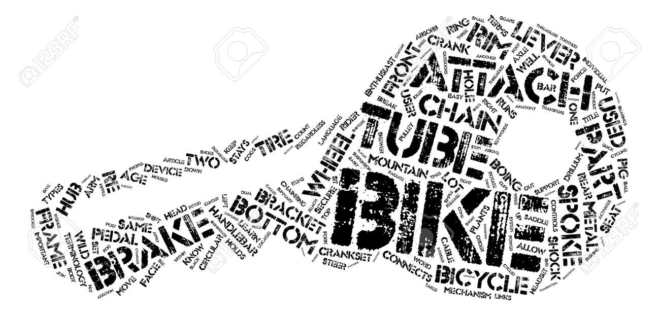 The Anatomy Of A Mountain Bike Text Background Word Cloud Concept ...