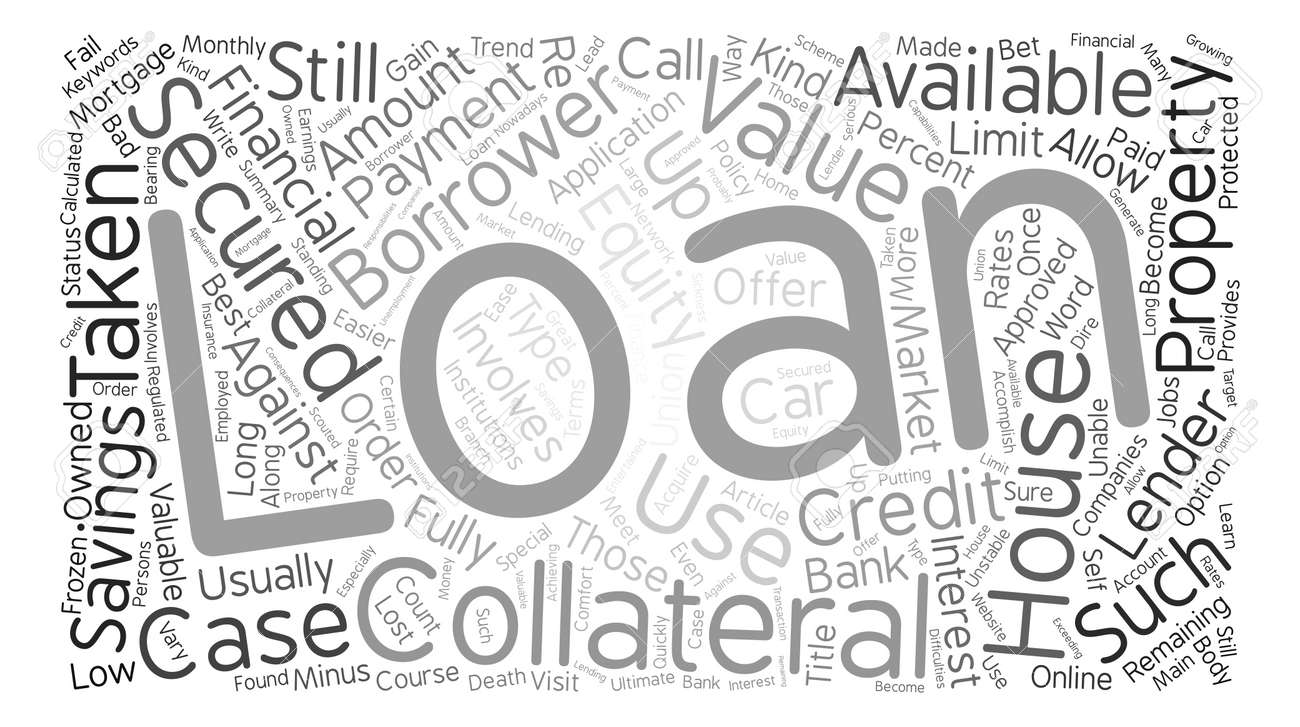 Secured Loans Equity text background word cloud concept - 73818006