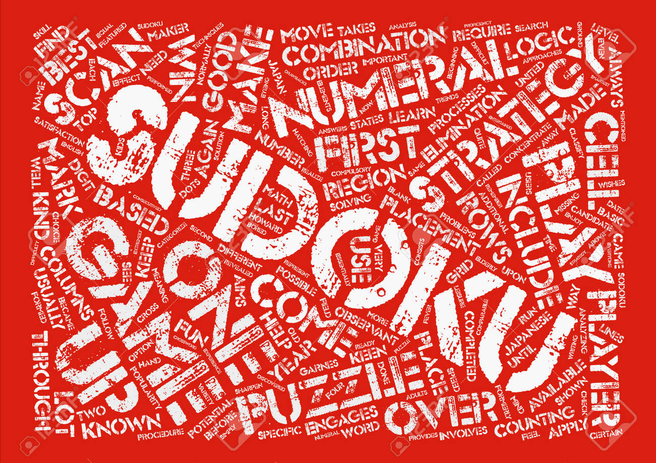 sudoku strategy Word Cloud Concept Text Background