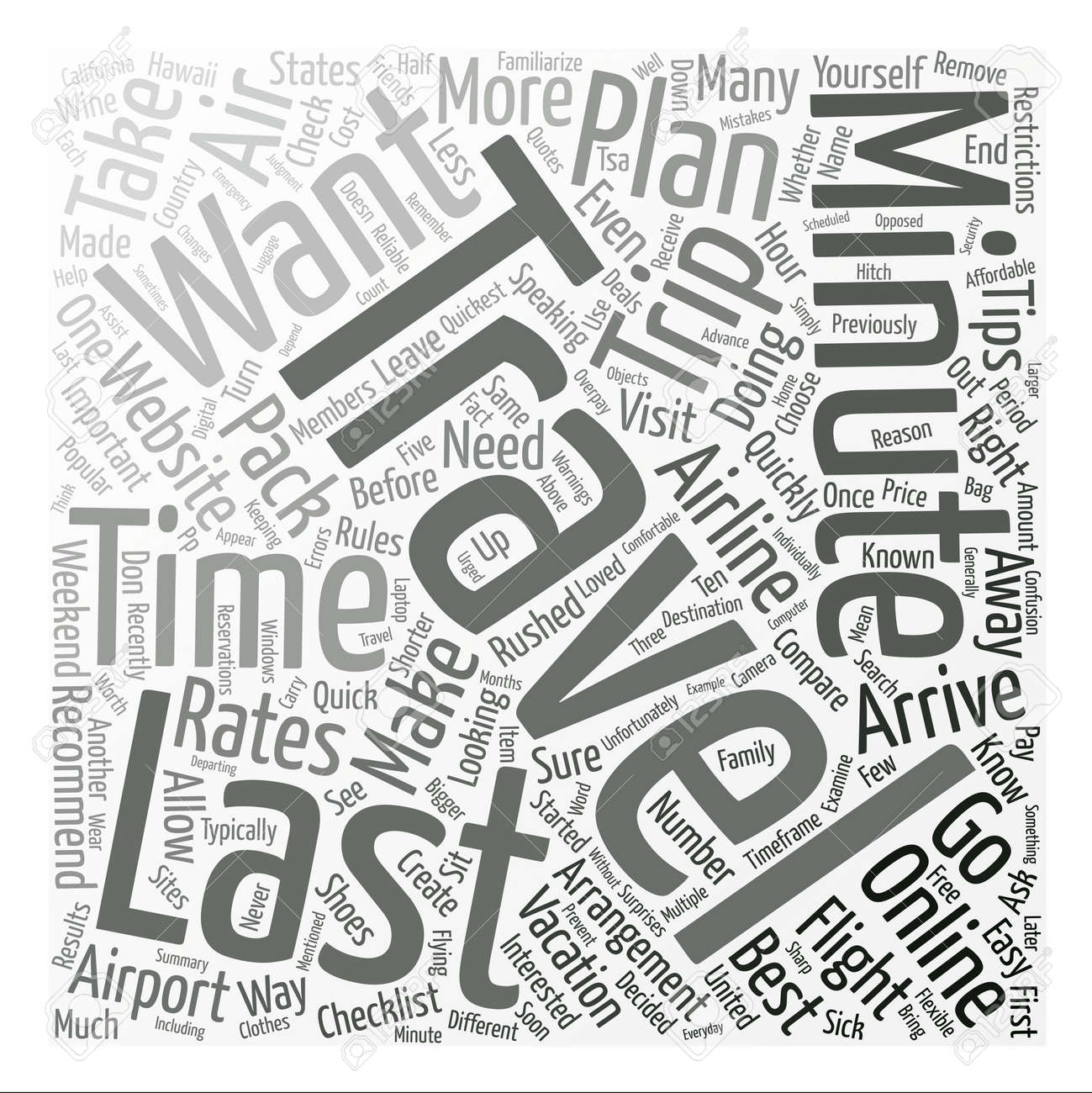 tips for last minute air travelers word cloud concept text