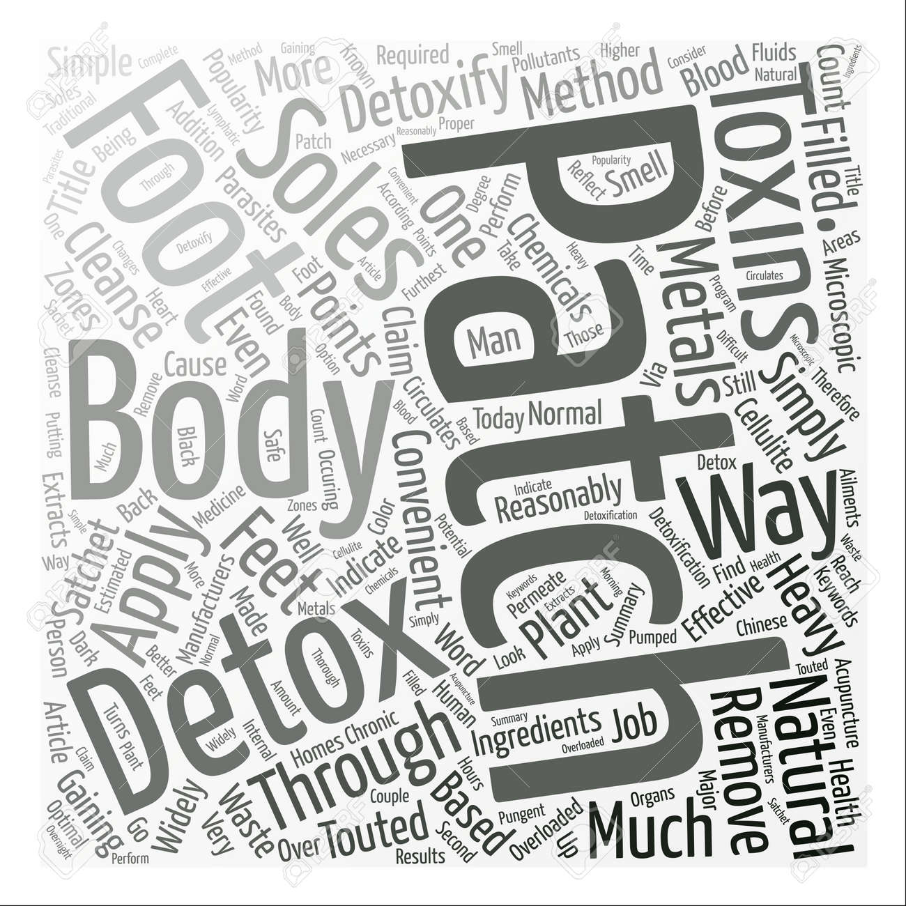 detoxify your body through a detox foot patch text background Ionic Foot Bath Machines detoxify your body through a detox foot patch text background word cloud concept stock vector