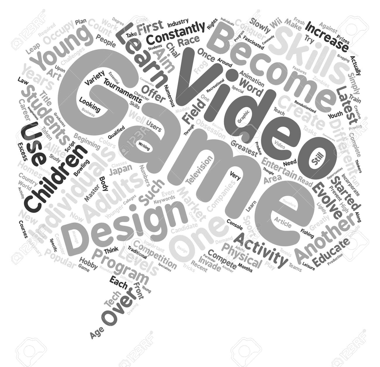The Art Of Video Game Design Text Background Word Cloud Concept