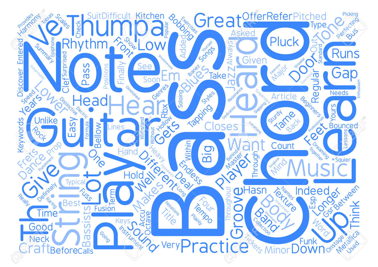 Let S Hear Em Bass Guitar Chords Word Cloud Concept Text Background