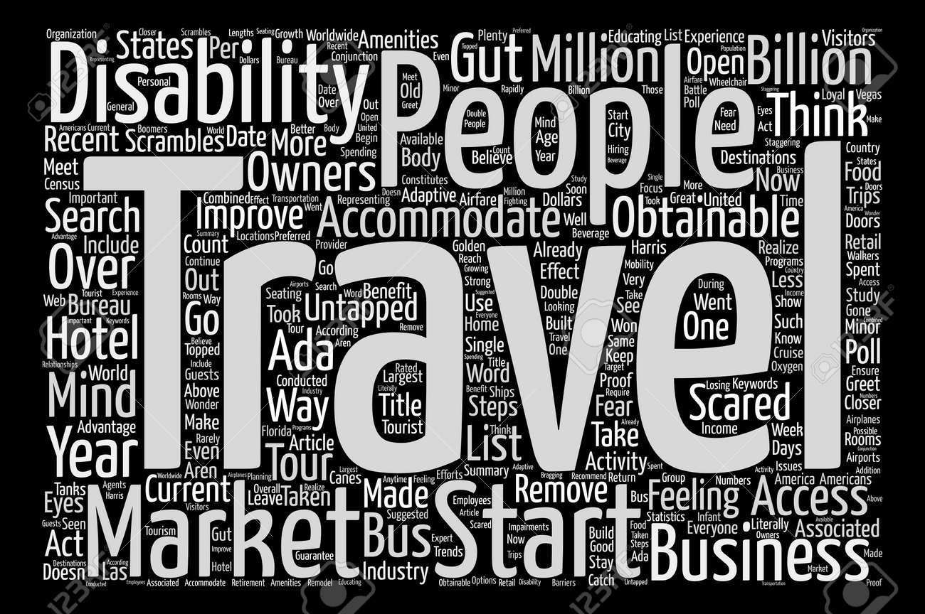 travelers with disabilities the untapped market word cloud concept
