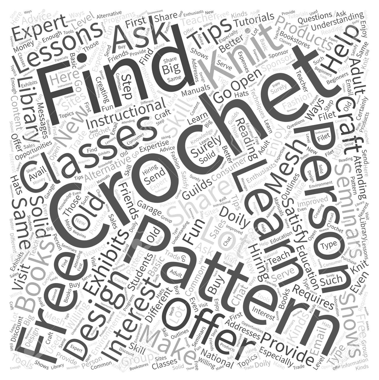 Free Crochet Doily Patterns Word Cloud Concept Royalty Free Cliparts ...