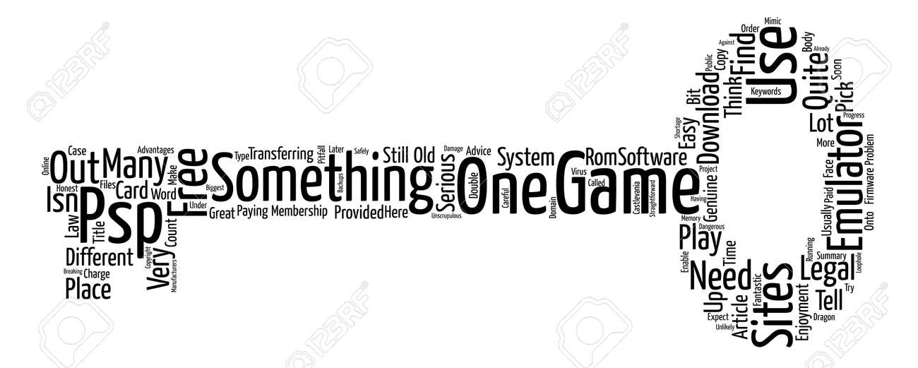 PSP Emulator And Game Word Cloud Concept Text Background
