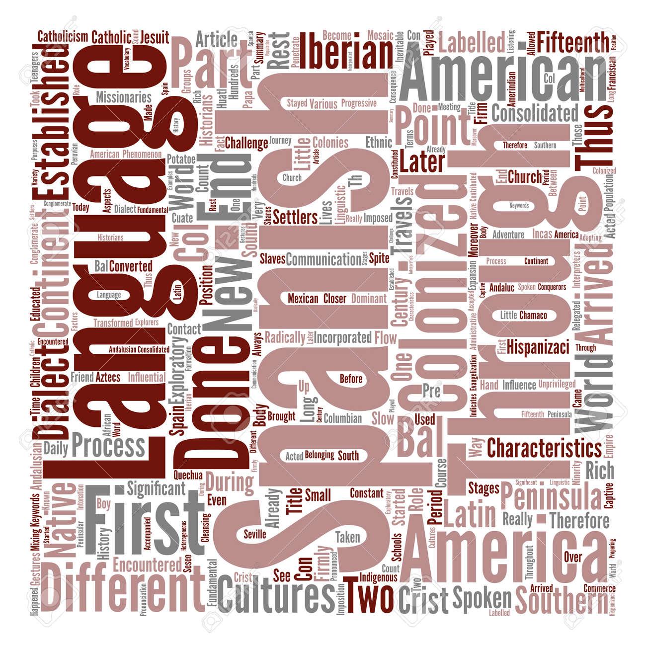 Historia De La Lengua Espanola En America Latina Texto Fondo Palabra Nube Concepto