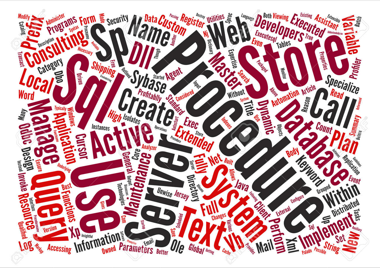 SQL Server System Stored Procedures Word Cloud Concept Text Background