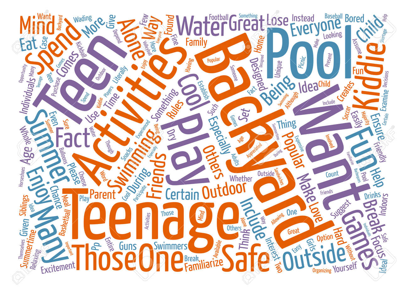 popular backyard activities for teens text background word cloud