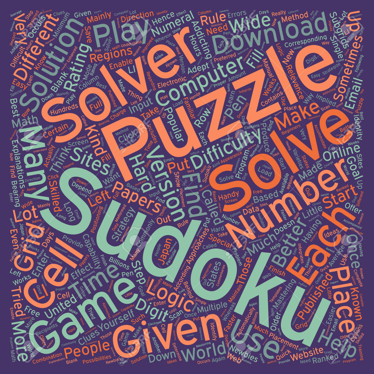 sudoku solvers text background wordcloud concept royalty free