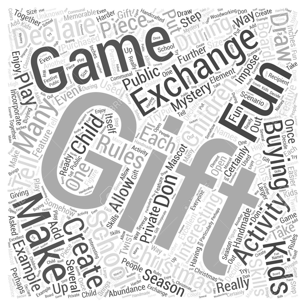 School Christmas Gift Exchange Games Word Cloud Concept Royalty Free ...