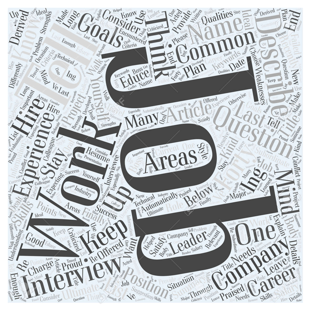 the most common job interview questions word cloud concept stock vector 74205737