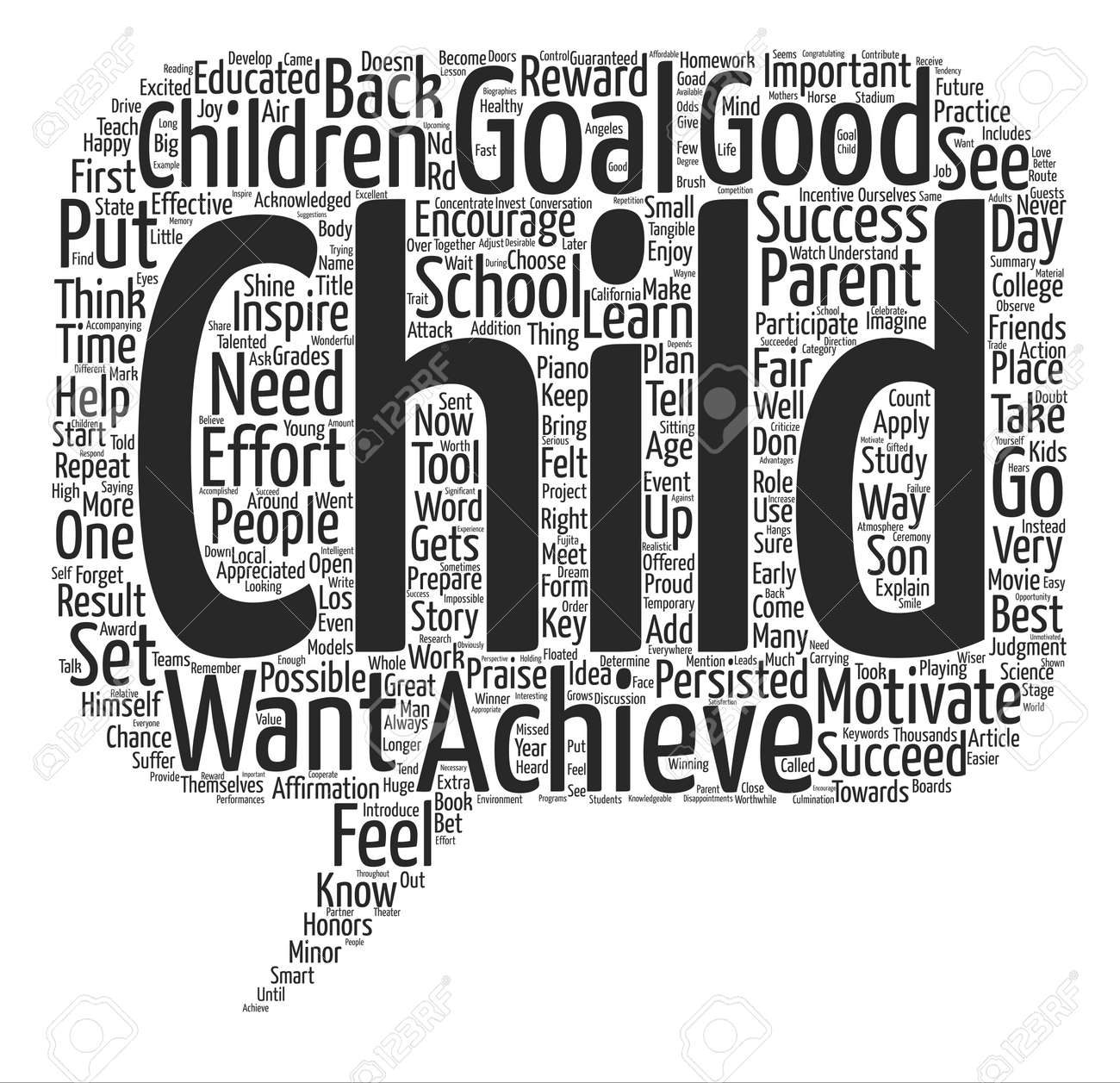 How Can I Motivate My Child text background word cloud concept