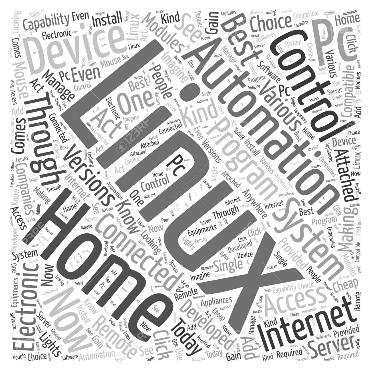 Linux Home Automation Word Cloud Concept Royalty Free Cliparts ...