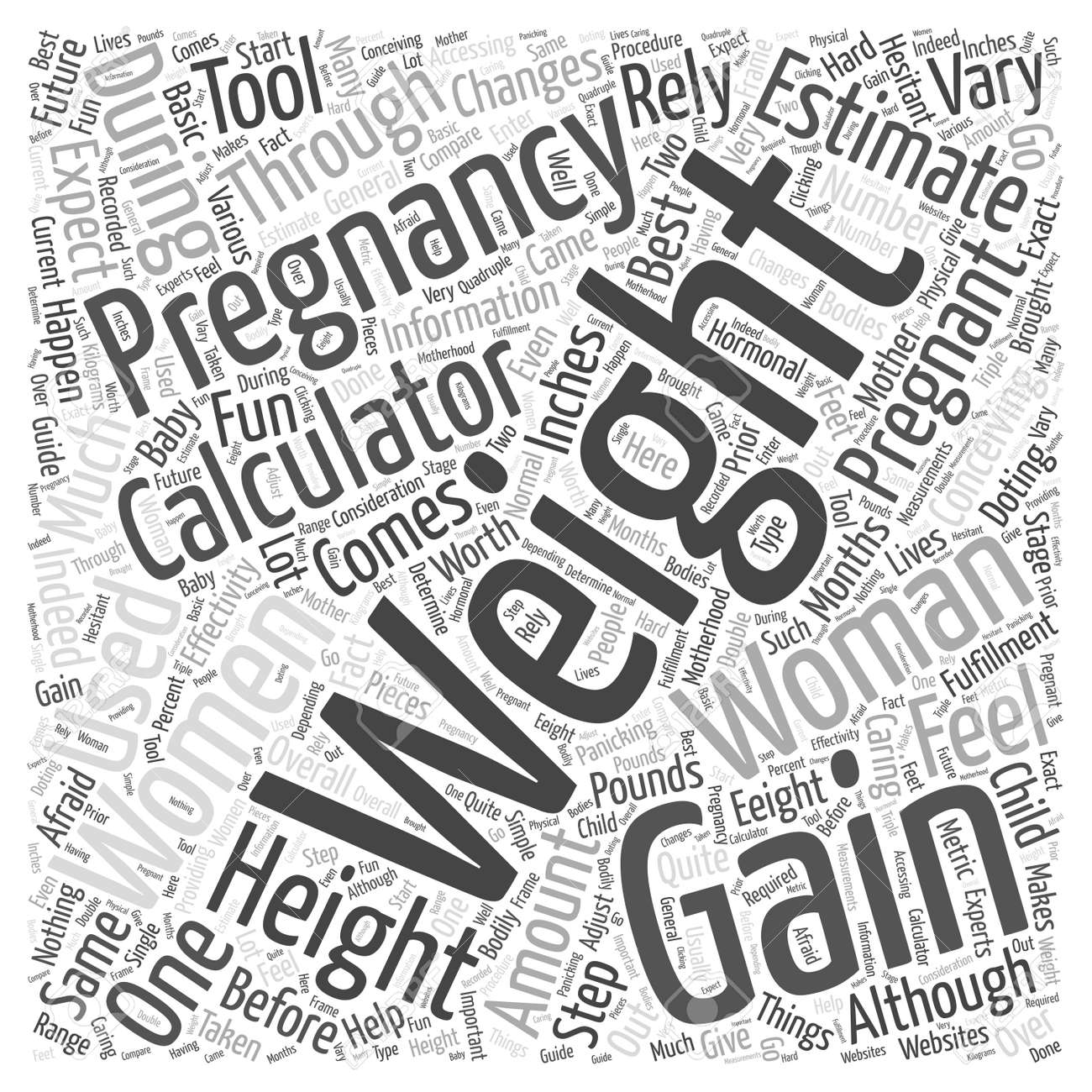 pregnancy weight gain calculator Word Cloud Concept