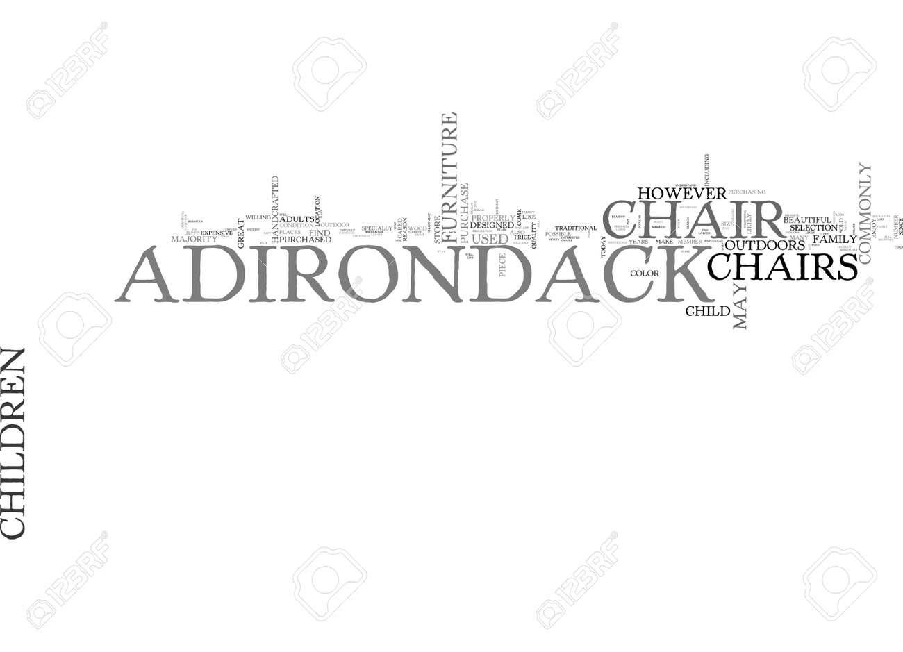 ADIRONDACK CHAIRS FOR CHILDREN TEXT WORD CLOUD CONCEPT Royalty Free ...