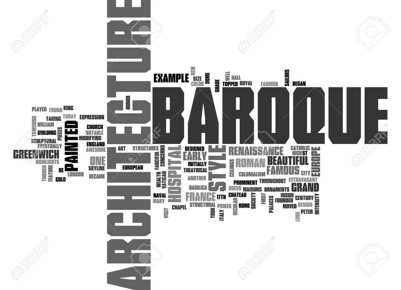 BAROQUE ARCHITECTURE TEXT WORD CLOUD CONCEPT Stock Vector