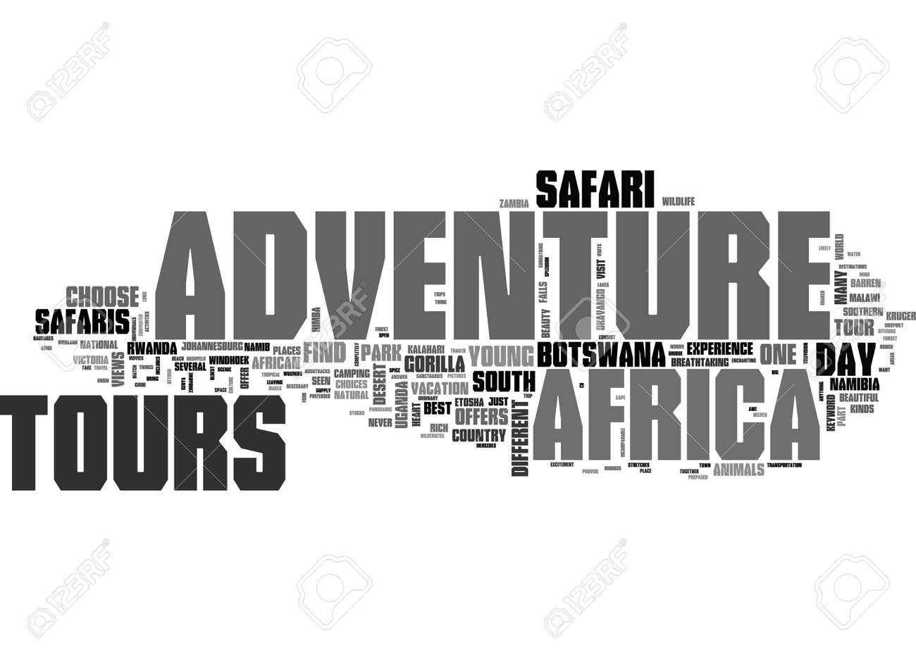 AFRICA ADVENTURE TOURS TEXT WORD CLOUD CONCEPT