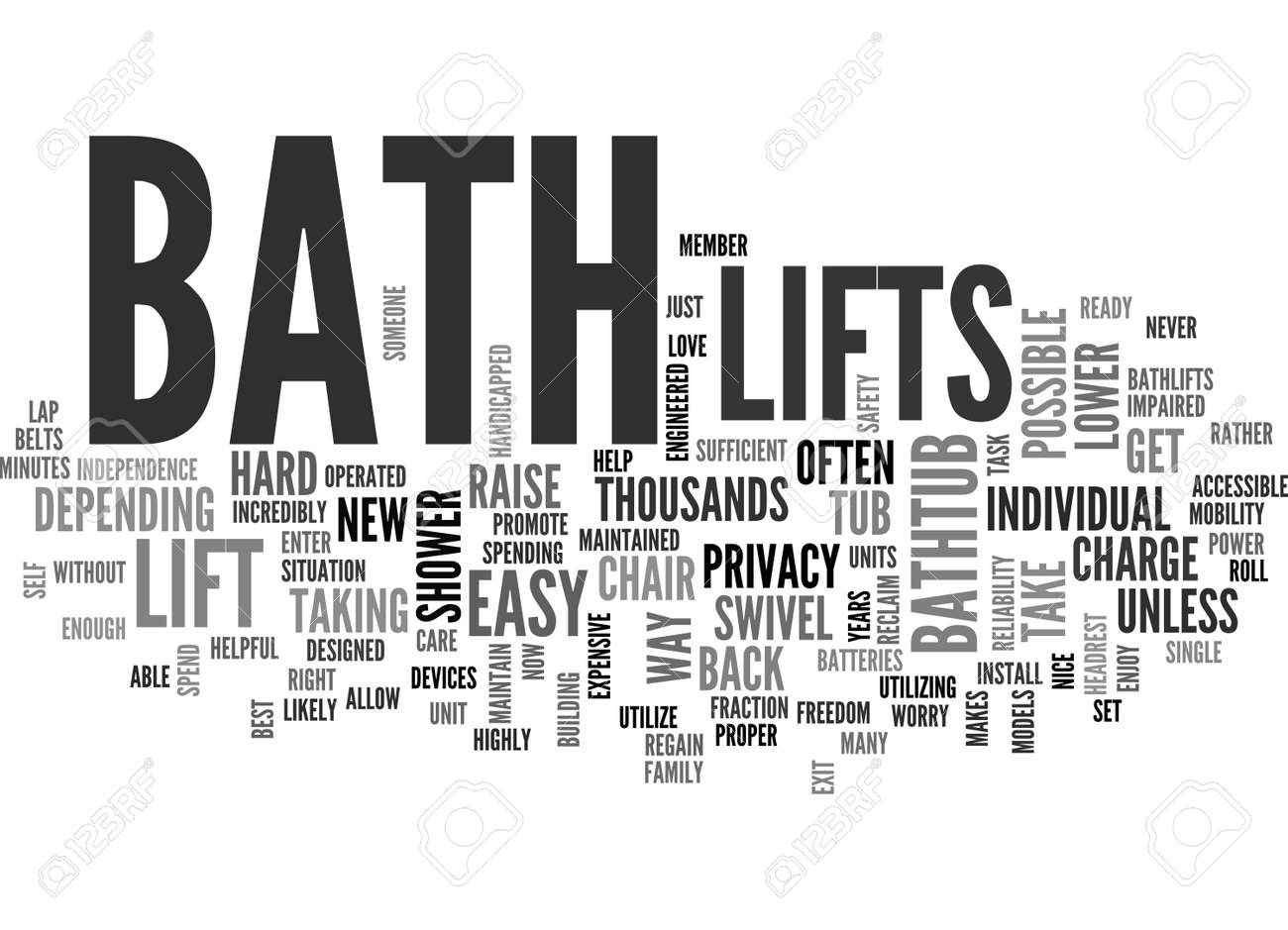 BATH LIFTS AND YOU TEXT WORD CLOUD CONCEPT Royalty Free Cliparts ...