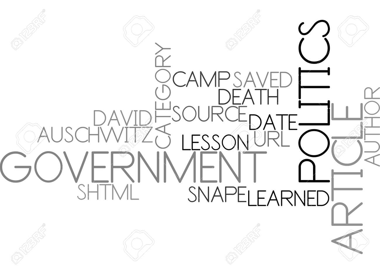 AUSCHWITZ DEATH CAMP LESSON LEARNED TEXT WORD CLOUD CONCEPT - 79505412