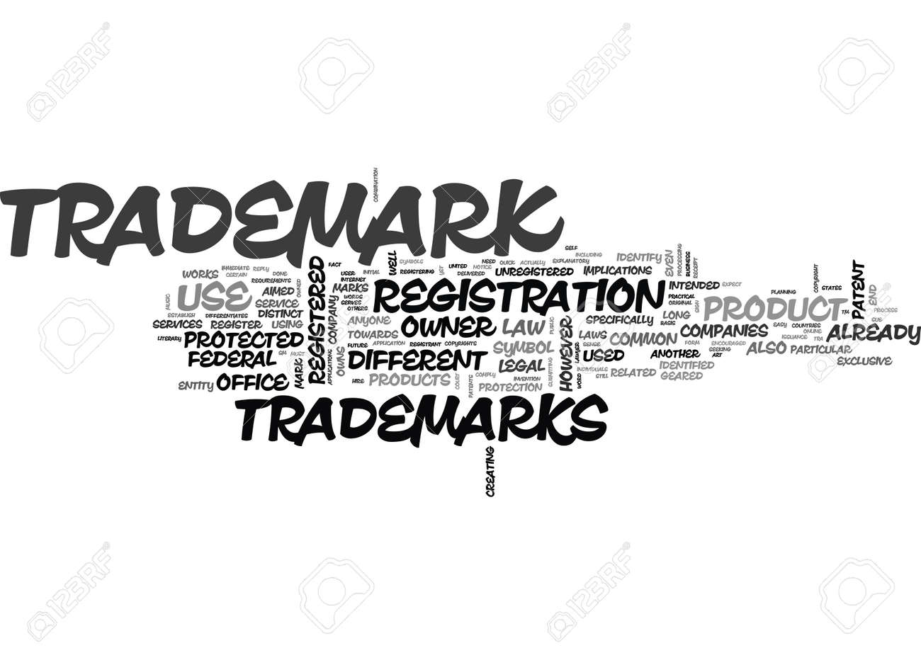 WHAT ARE TRADEMARKS TEXT WORD CLOUD CONCEPT