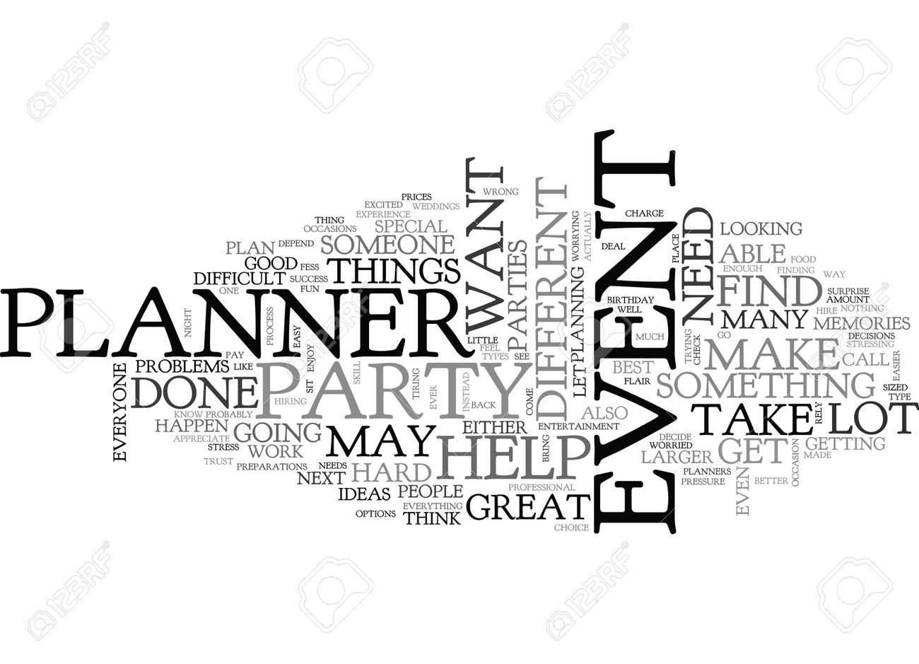 when you need to hire an event planner text word cloud concept