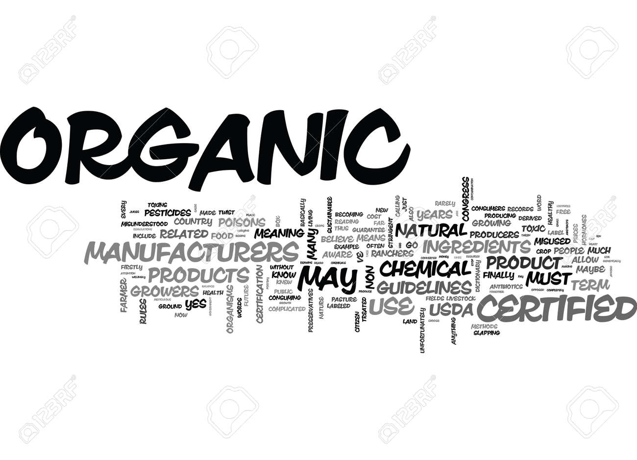 What Does Certified Organic Mean Text Word Cloud Concept Royalty