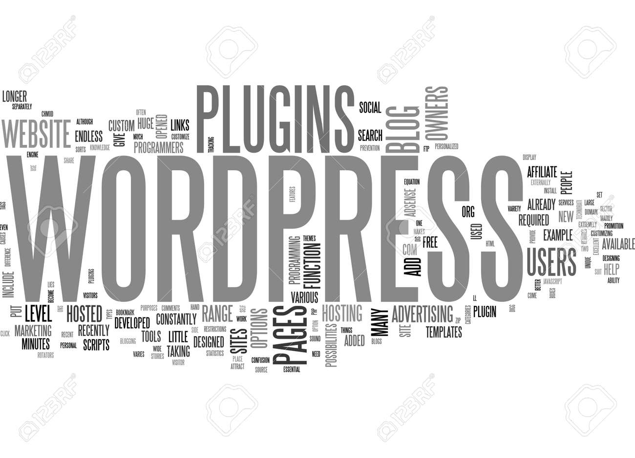 WHAT CAN WORDPRESS PLUGINS DO FOR YOU TEXT WORD CLOUD CONCEPT - 79581680