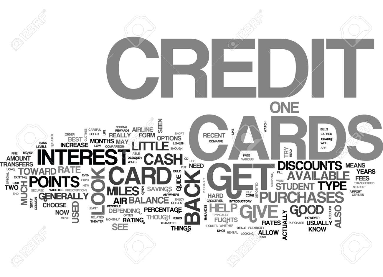 WHAT KIND OF CREDIT CARDS ARE THERE AND WHICH ONE SHOULD I GET TEXT WORD CLOUD CONCEPT - 79578888