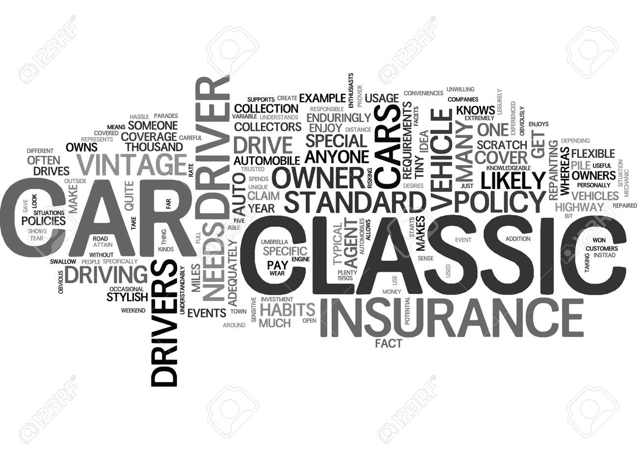 WHAT MAKES CLASSIC CAR INSURANCE SPECIAL TEXT WORD CLOUD CONCEPT ...