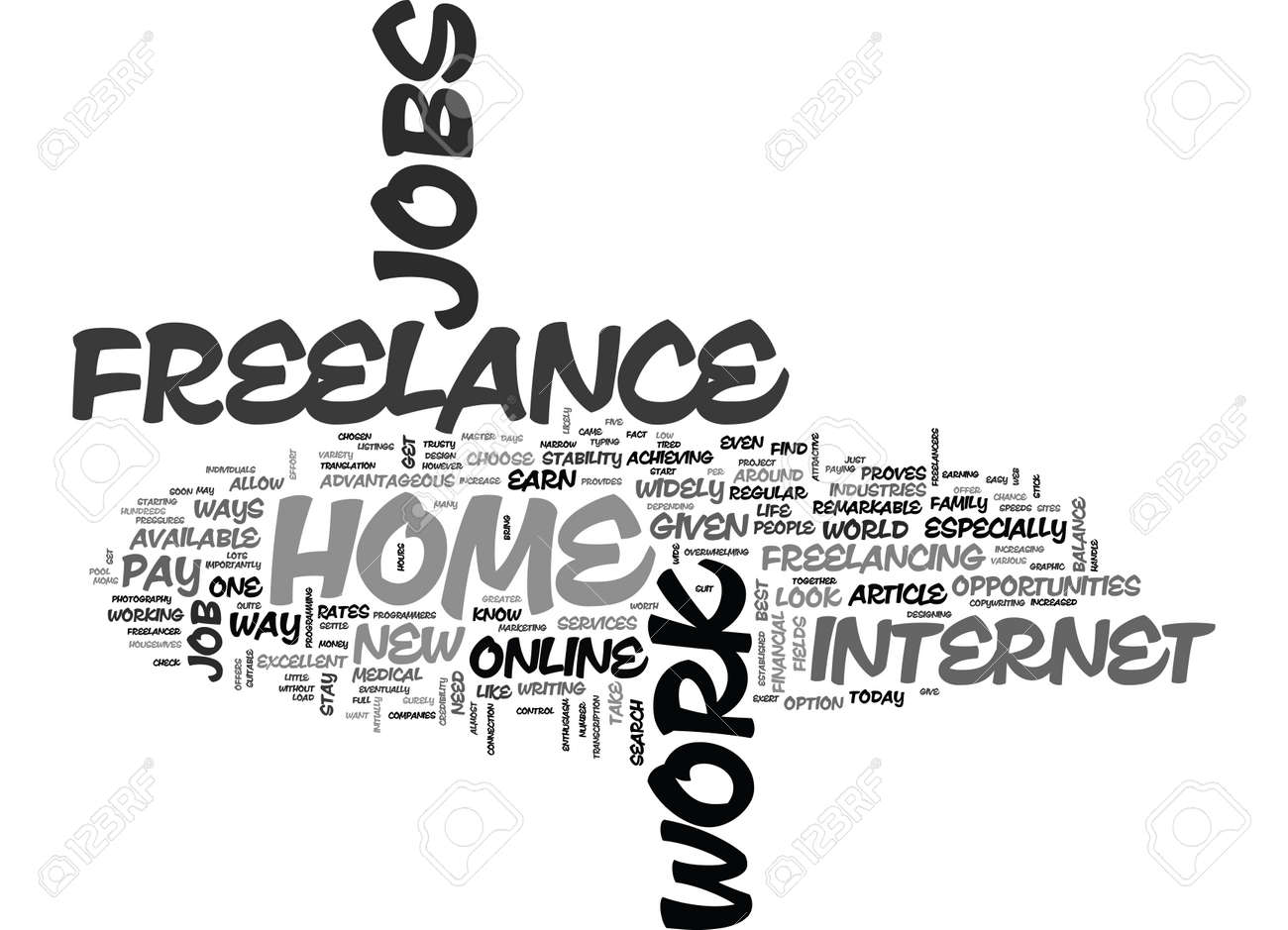 WORK FROM HOME THROUGH ONLINE FREELANCE JOBS TEXT WORD CLOUD