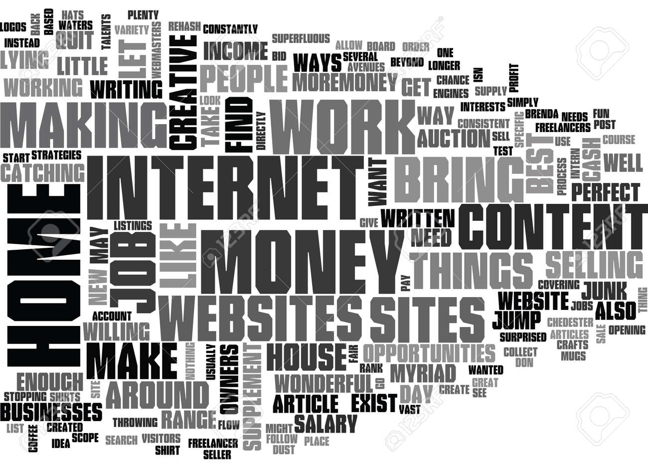 WORK AT HOME FOR FUN AND PROFIT TEXT WORD CLOUD CONCEPT