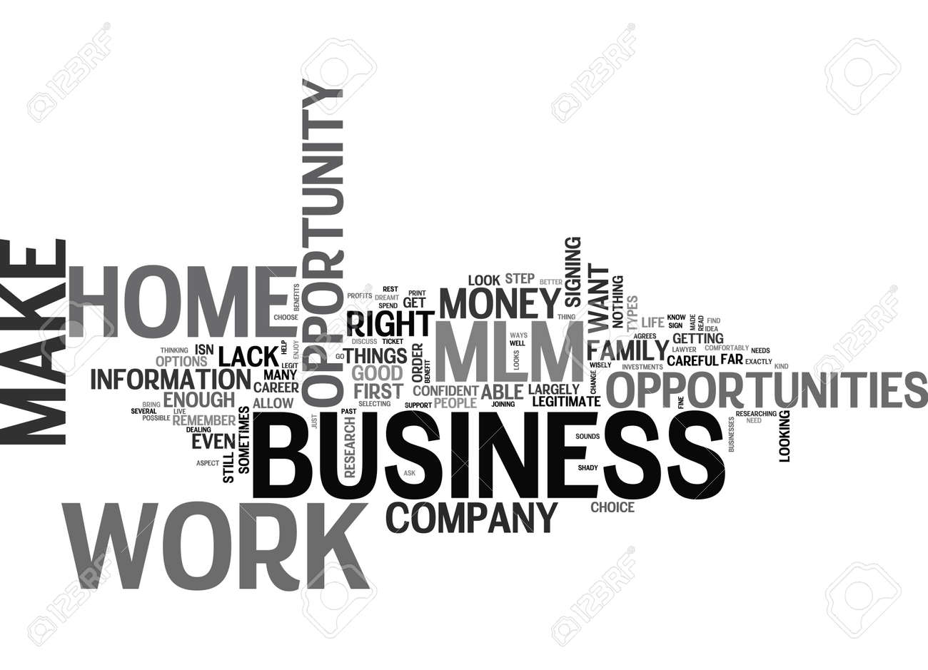 WORK AT HOME MLM BUSINESS OPPORTUNITY TEXT WORD CLOUD CONCEPT ...