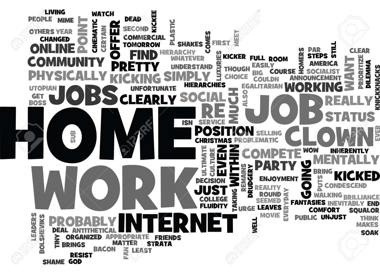 WORK AT HOME ONLINE JOBS BE YOUR OWN BOSS TEXT WORD CLOUD CONCEPT Be Your Own Boss Work From Home Job on working remotely from home, be your own boss entertainment, be your own person, work at home,