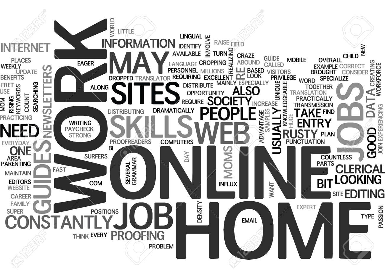 WORK AT HOME ONLINE JOBS TEXT WORD CLOUD CONCEPT Royalty Free ...