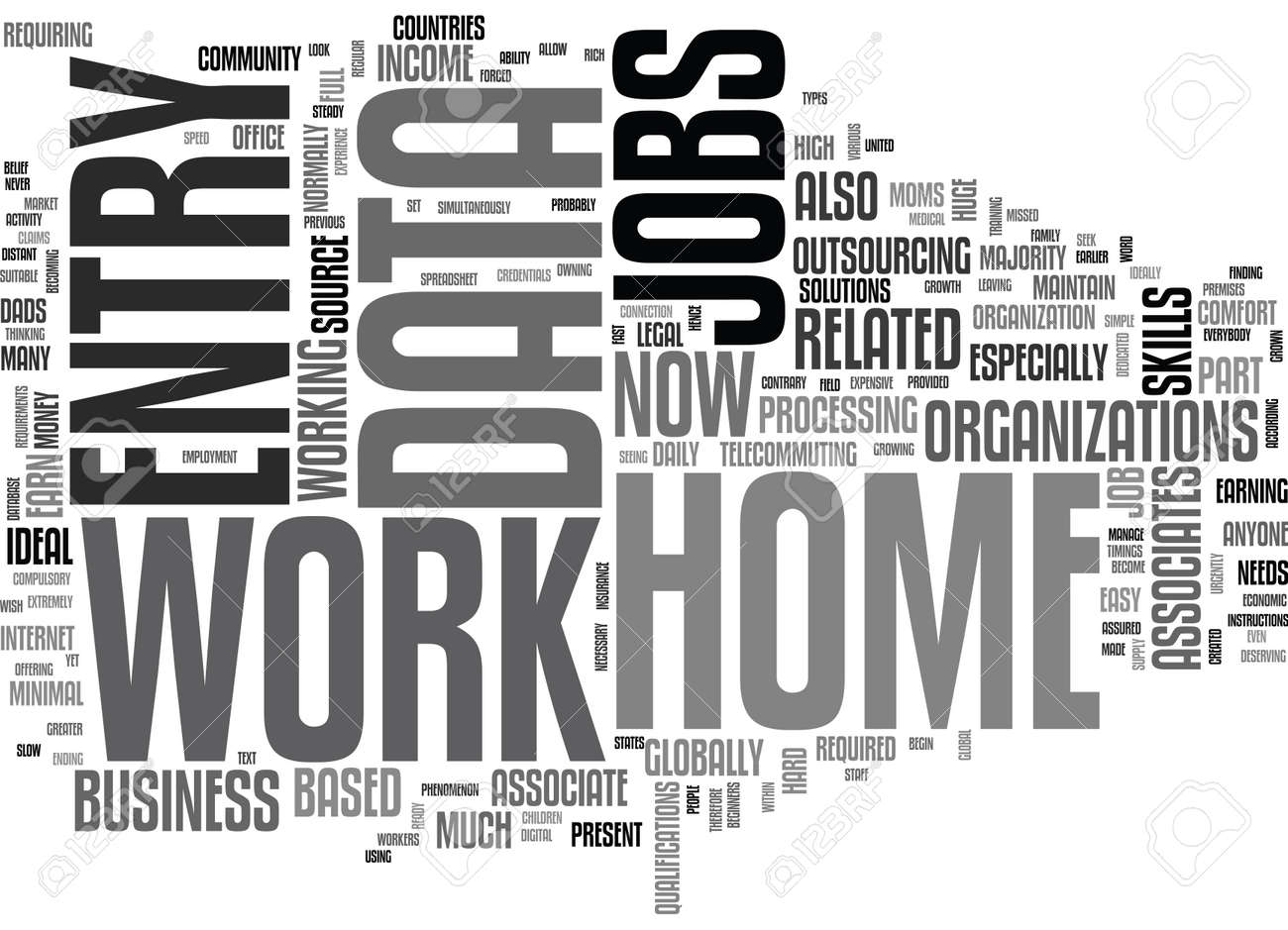 WORK FROM HOME DATA ENTRY JOBS TEXT WORD CLOUD CONCEPT