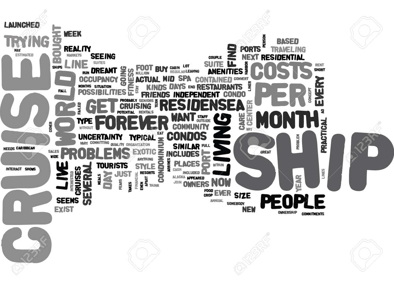 YOU TOO CAN LIVE ON A CRUISE SHIP TEXT WORD CLOUD CONCEPT Royalty - Can you text from a cruise ship