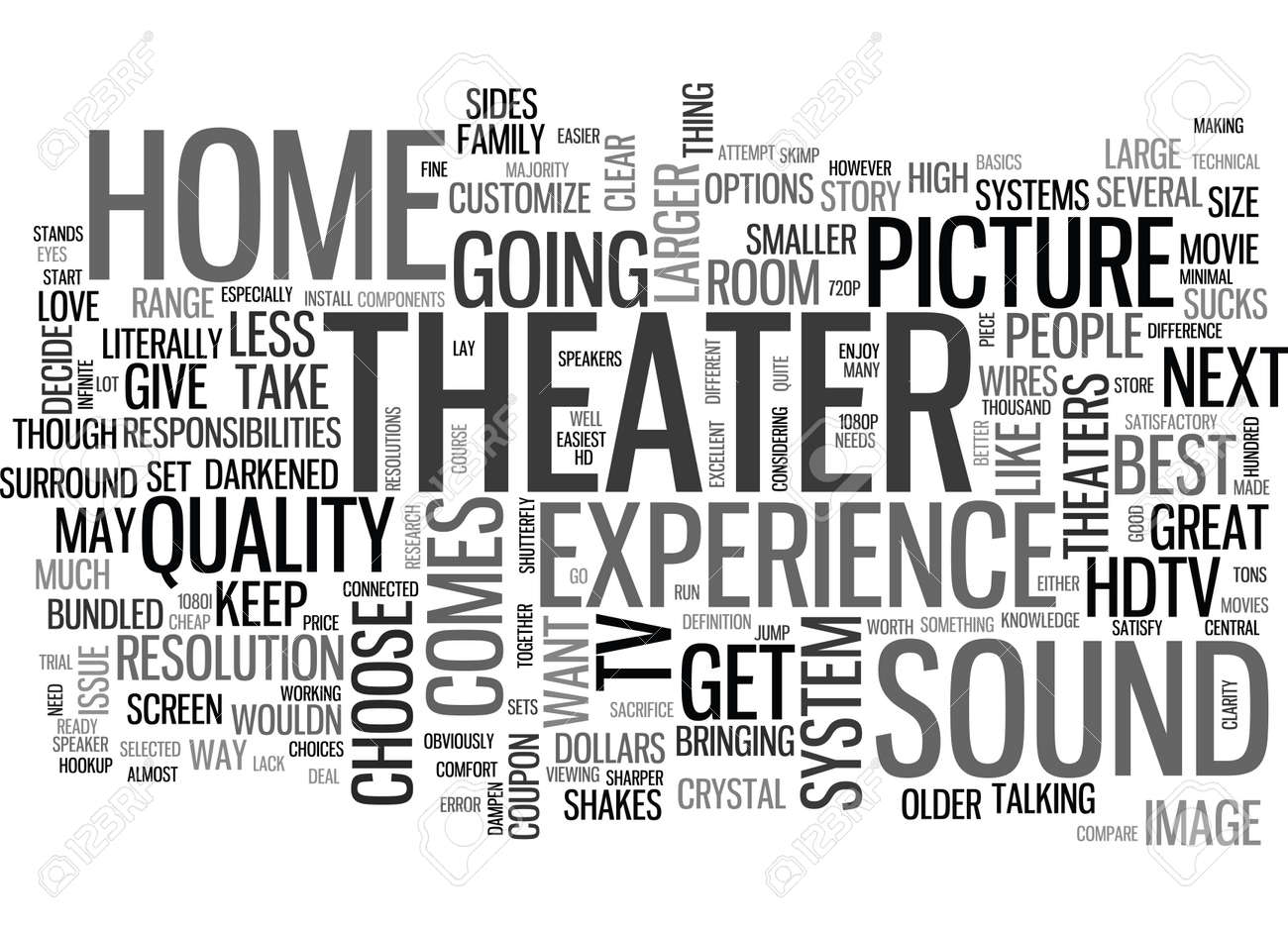 YOUR HOME THEATER HOW TO HOOKUP TEXT WORD CLOUD CONCEPT Royalty Free ...