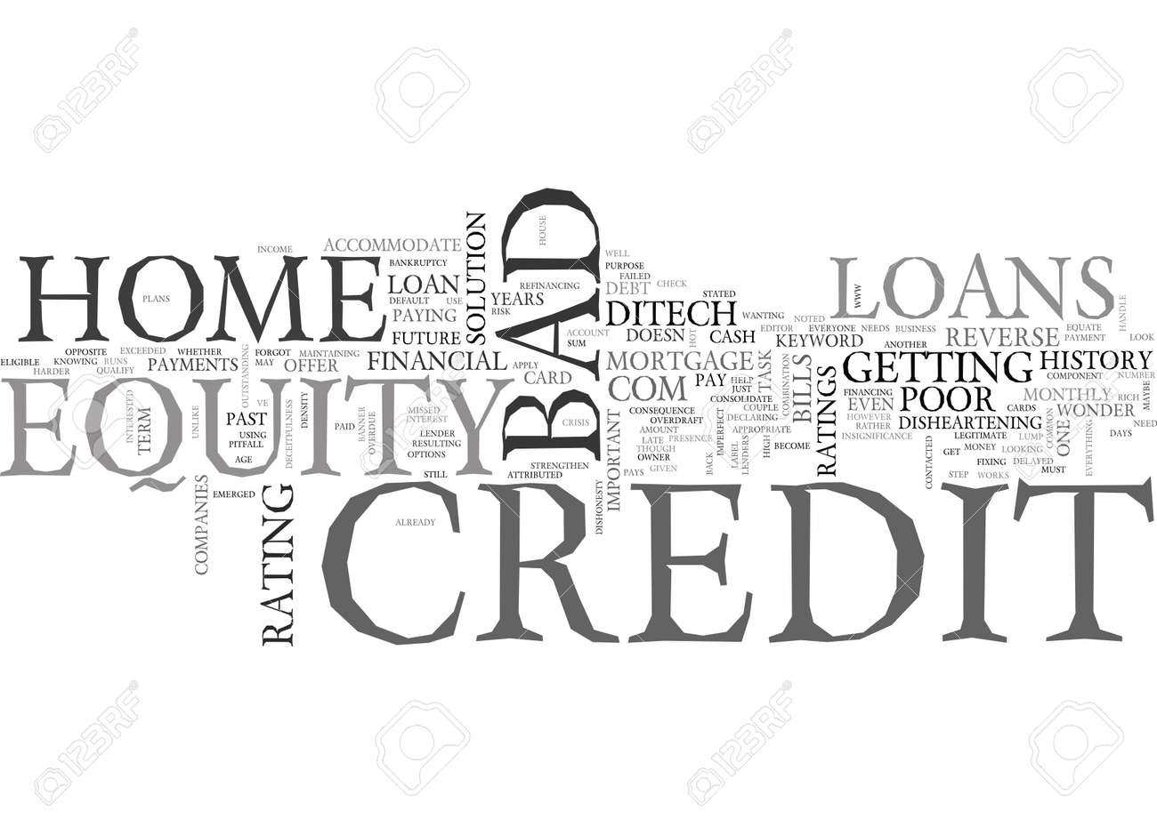 Home Equity Loans Bad Credit Text Word Cloud Concept Royalty Free