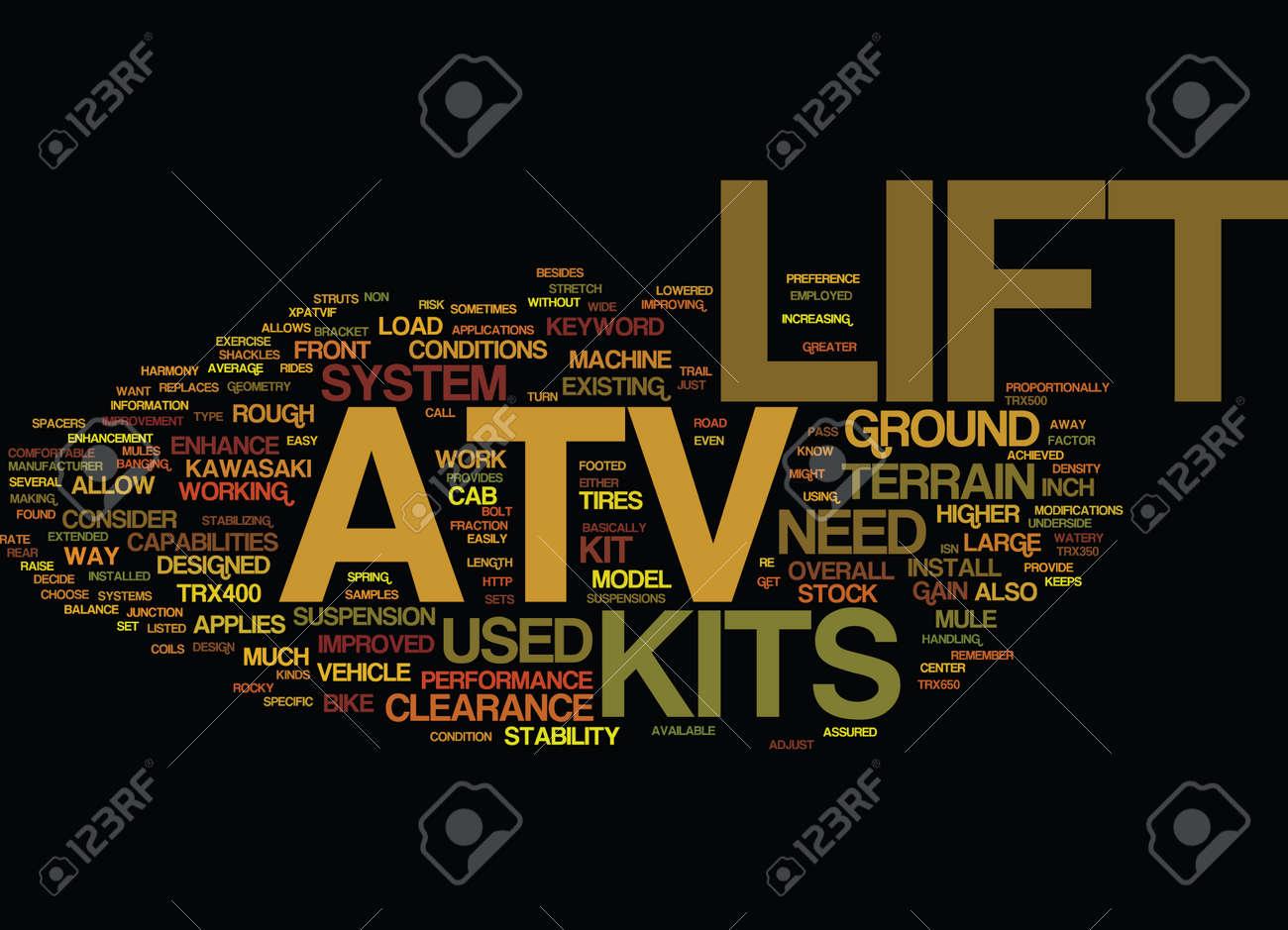 ATV LIFT KITS Text Background Word Cloud Concept