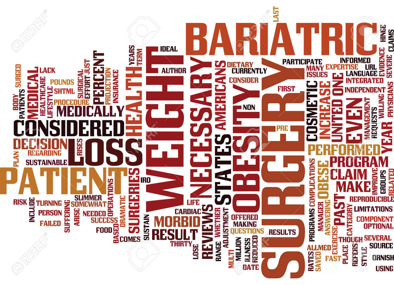 BARIATRIC SURGERY FOR OBESITY Text Background Word Cloud Concept - 82567092