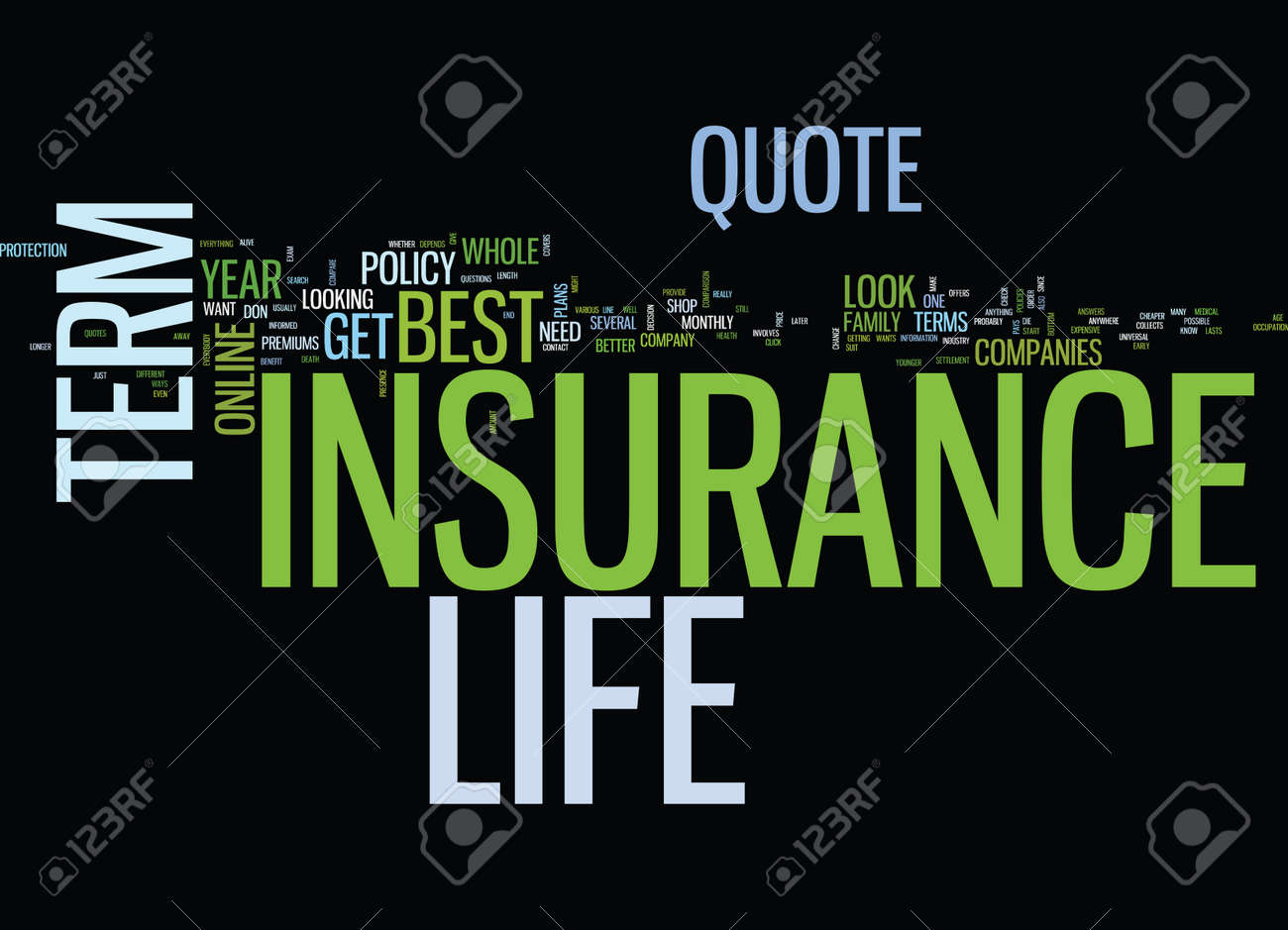 EVERYBODY WANTS THE BEST TERM LIFE INSURANCE QUOTE Text Background Word  Cloud Concept Stock Vector