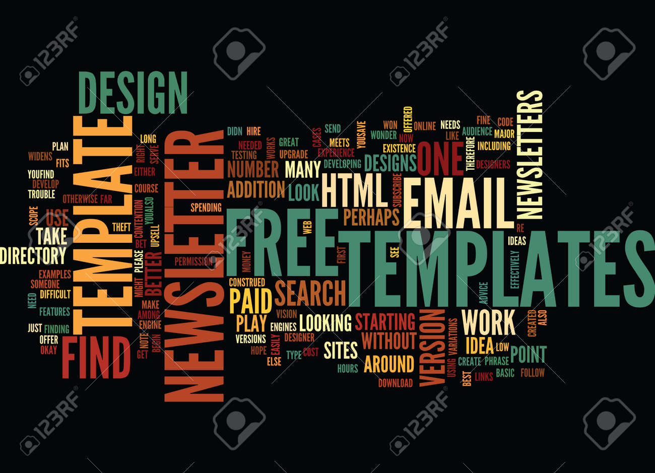 email newsletter templates html text background word cloud concept, Powerpoint templates
