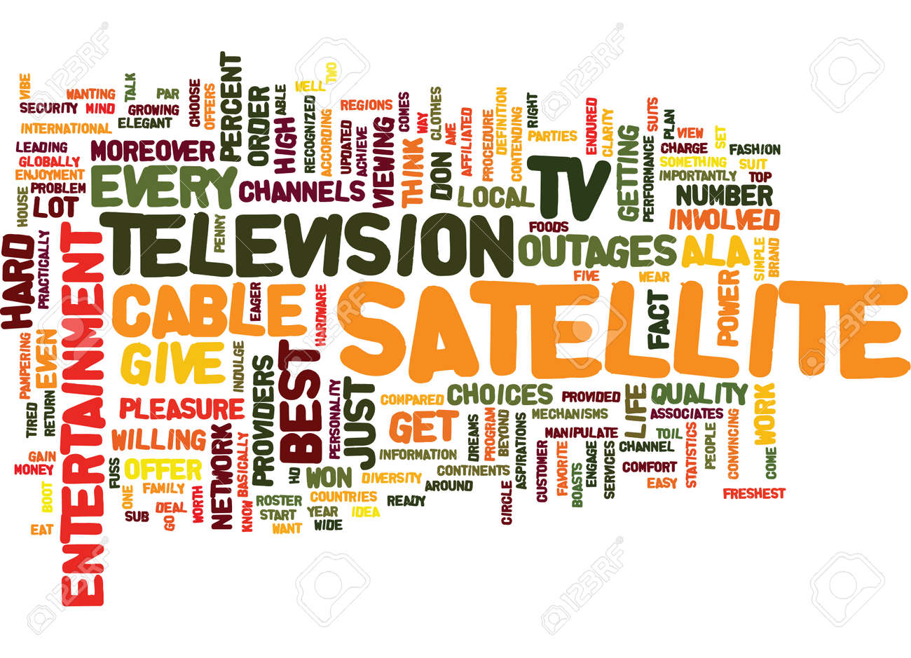 ENTERTAINMENT ALA SATELLITE TV Text Background Word Cloud Concept