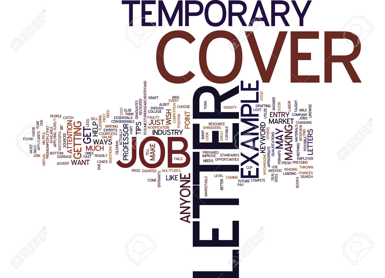 EXAMPLE COVER LETTER FOR TEMPORARY JOB Text Background Word Cloud..