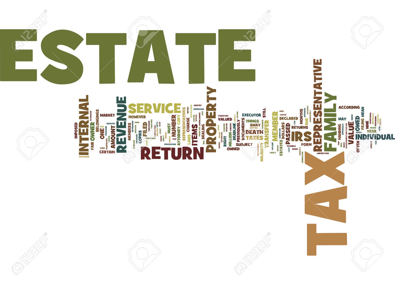 ESTATE TAX WHAT IT IS AND HOW IT IS FILED Text Background Word Cloud Concept - 82600938