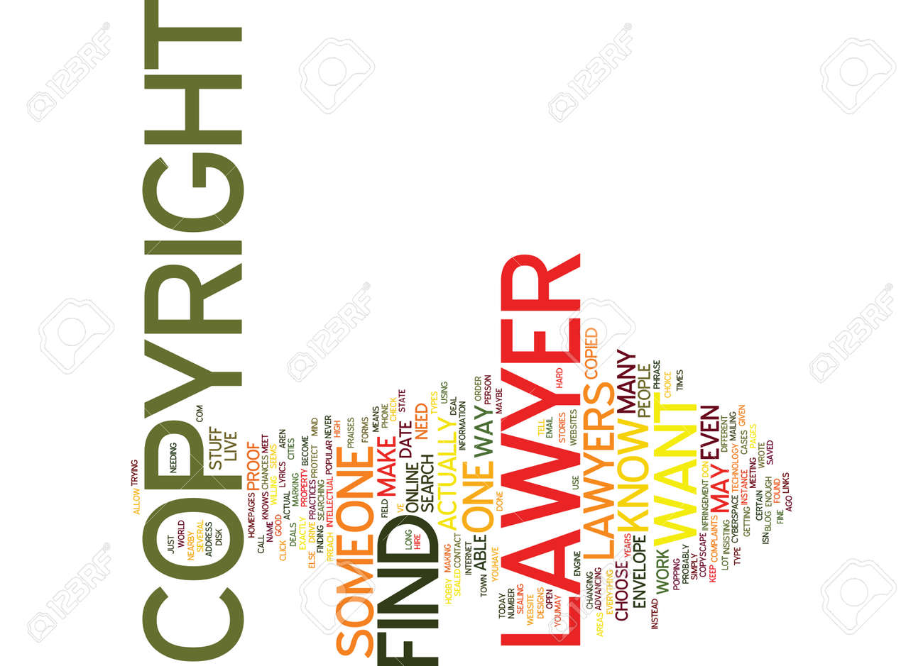 Find A Copyright Lawyer Text Background Word Cloud Concept Royalty